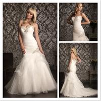 Beautiful White/Ivory Mermaid Beaded Wedding Dress High Quality Sweetheart Satin Wedding Gown cl031
