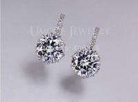 1 Pair New Fashion Women Lady Elegant Clip-on Austria Crystal Dangle Earring