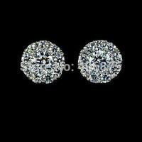 1 Pair New Fashion Women Lady Elegant Solid Sterling Basket Set Round CZ Stud Earrings