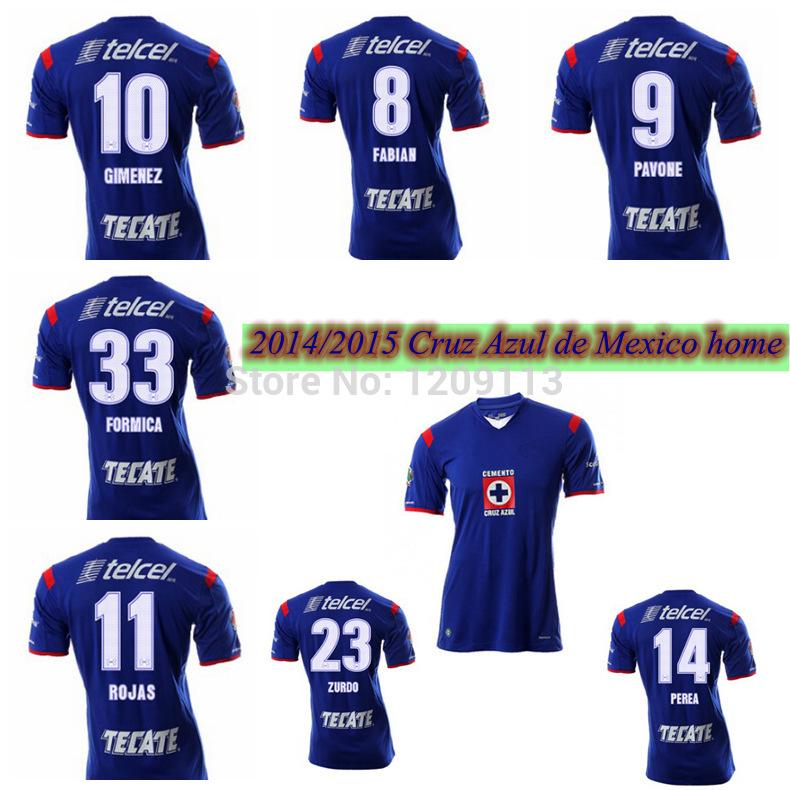2015 Cruz Azul Home blue jerseys TOP thai quality 14 15 soccer shirts ROJAS GIMENEZ PAVONE FABIAN ZURDO custom shirts(China (Mainland))