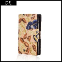 Genuine Leather Vintage Floral Wallet Brand Cluthes 2014 New Korean Purse Printed Patterns Fastening Female Women Wallets