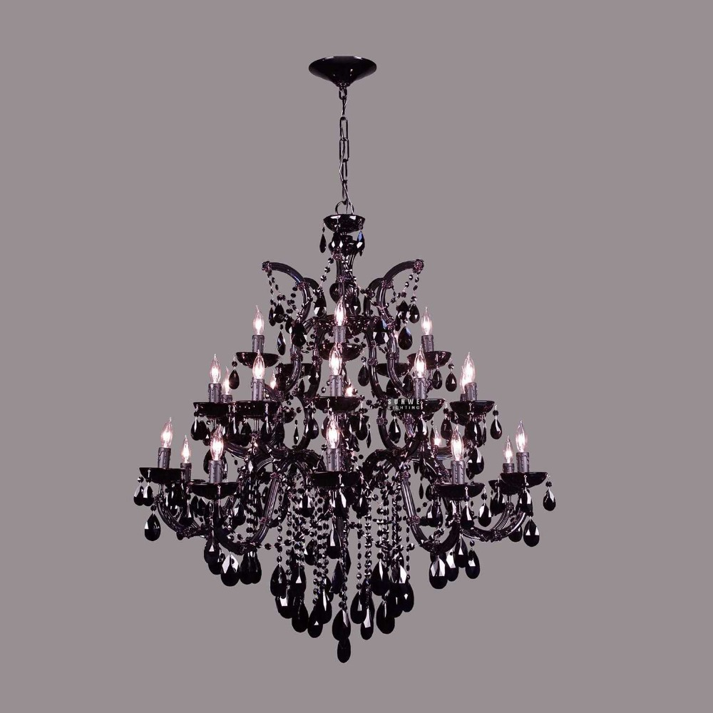 25 lights black crystal chandelier light dining room crystal chandelier lighting in black finish - Crystal chandelier for dining room ...