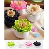 1pc/lot Fashion 4 Colors Lotus Home Decor Toothpick Cotton Swab Holder Storage Box Pick Toothpick case AY870661