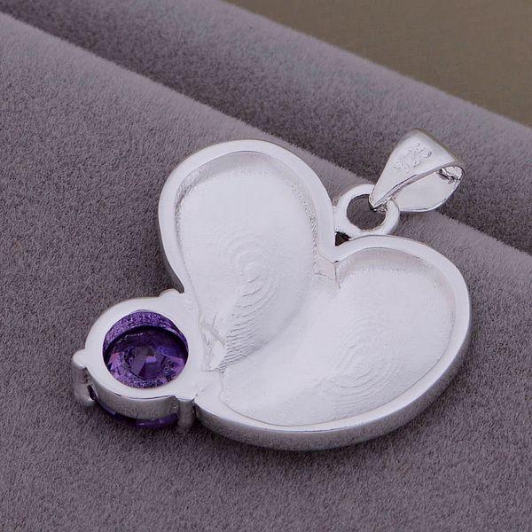 AN834 Trendy wholesale silver Necklace 925 silver fashion jewelry pendant Deformation of the heart stone /bikajzra biyakafa(China (Mainland))