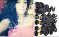 Queen hair 4 pcs lot Body Wave 3 Part Lace Closure With 3pcs Bundles Peruvian Virgin Hair Qingdao human hair supplier