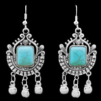 Vintage Look Antique Silver Plated Exotic Fruit Apple Pendant  Turquoise Dangle Earrings TE79