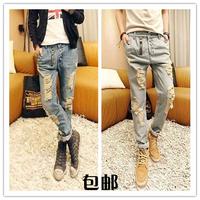 Men Korean Design Low Drop crotch Denim Jeans Harem hip hop Long pants Slack baggy Plus Big Size pants Stretch trousers Grey