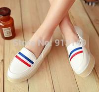 Free shipping women slip on striped summer sandals round toe pU leather  big size 41 42 43 fashion single shoes