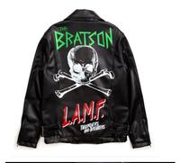 Free Shipping Unisex Gd bratson skull doodle punk leather motorcycle clothing outerwear male Women Jacket coat leather & Suede