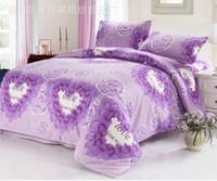 luxury big flower print pink cotton bedding 4 pieces bed sets