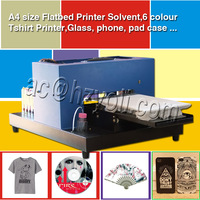 inkjet solvent 6 colors automatic A4 size flatbed printer for T-shirt ,fat glass ,phone case