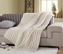 ... bianco lavorato a maglia casuale coperta / tiro moda tappeto coperta
