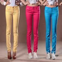 2014 autumn pants elastic candy color trousers slim pencil pants casual pants female trousers