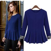 2014 women's fashion all-match t-shirt fashion solid color elegant top