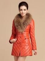 new 2014 100% raccoon fur collar down winter coat women Genuine leather sheepskin casual female long parka clothing 6980