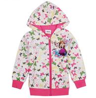 2014 Kids FROZEN Butterfly Printing Elsa Anna Hooded Long Sleeve children Zipper Hoodies T shirt baby girl coat QY126,