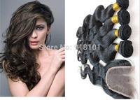 Queen style 4 pcs lot Body Wave 3 Part Lace Closure With 3pcs Bundles Peruvian Virgin Hair Unprocessed Human Hair Weft Extension