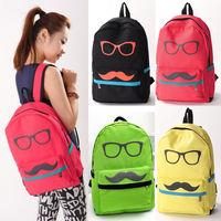 Noblest Canvas Mustache Design Travel Shoulders Backpack Rucksack School Bags