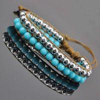 Hot sale 2014 NEW fashion blue beads Vintage Bohemia Bangle Sets  acrylic beads Bangle charm Bangle bracelet