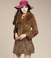 new 2014 winter High quality 100% natural rabbit Fur coat women long clothing,warm real fox fur collar plus size 4XL 6982
