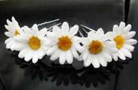 100PX free shipping WEDDING BRIDAL WHITE DAISY FLOWER HAIR PINS CHRYSANTHEMUM