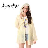Women's transparent lace decoration raincoat women's poncho 2
