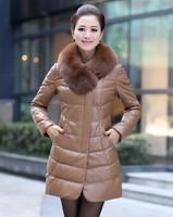 Genuine leather sheepskin casual female long parka clothing new 2014 100% Fox fur collar down winter coat women plus size 6983