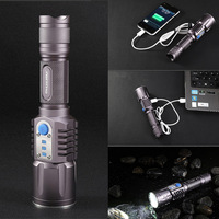 Hot selling Cree XM-L2 LED Flashlight Lamp 1100LM 3 Mode Waterproof IPX8 micro-USB charge free shipping