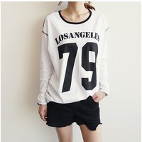 New 2014 Fashion High Quality  Women Number Printed Sweatshirt Full Sleeve O-neck Loose Casual Tee Tops girl t shirt women 828