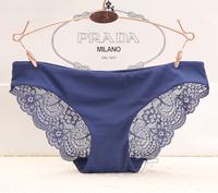 Fashion cutout 3 seamless sexy lace transparent low-waist milk, silk panty