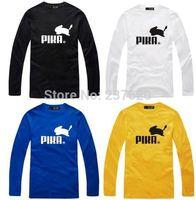 Free shipping 2014 new sale fashion t shirt brand pikachu print tee shirt 100% cotton long sleeve t-shirt 6 color