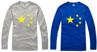 Free shipping 2014 new sale fashion t shirt chinese flag five point star flag tee shirt 100% cotton long sleeve t-shirt 6 color