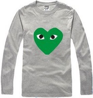 Free shipping 2014 new sale hiphop t shirt fashion tee cdg heart print unisex tee shirt 100% cotton long sleeve t-shirt 6 color