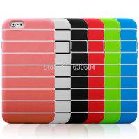 Soft TPU Gel Silicone Stripe Detachable Skin Case For iPhone 6  4.7 inch 40pcs/lot=20pcs Case+20pcs Screen Protector