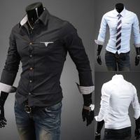 Free shipping 2014 hot sale new fashion men casual slim shirt, long-sleeve pure color men shirt, mens dress shirts plus size XXL