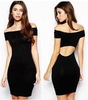 Europe Style Women Slash Neck Halter Hollow Slim Package Hip Dresses Black Sexy Bodycon Bandage Mini Dress