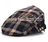 Free shipping!!! 10pcs Cute Toddler Baby Boys Girls Cotton Cap Hat Beret Check Pattern Grey