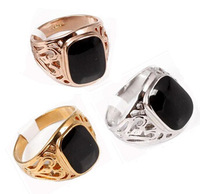 Wholesale/Retail  Generous 18 k gold plated & onyx & Hollow out side & Brand men's ring.Buy 3, 15 discount.Free shipping+ gifts.