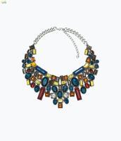 New design high quality 2014 fashion ZA women jewelry vintage color rhinestone bib statement SHOUROUK necklaces pendants 8308