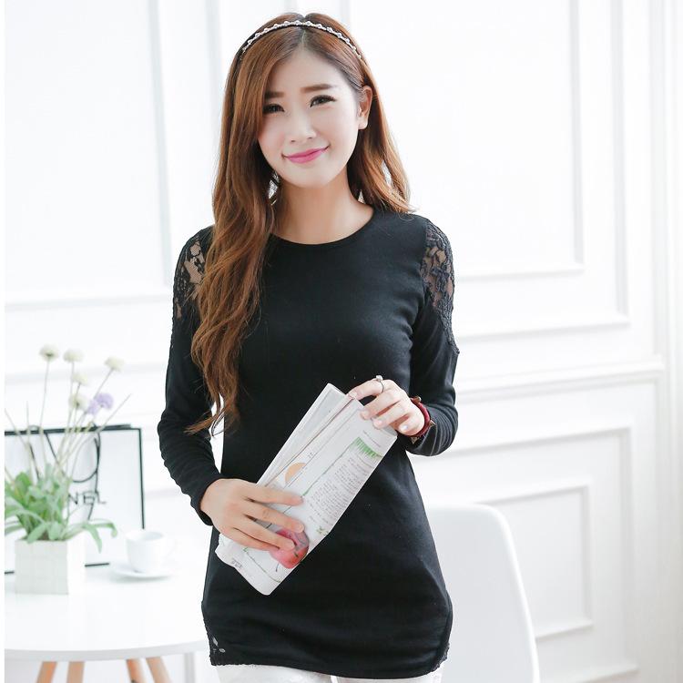 2014 outono novo estilo Casual Mulheres Lady Garota Lace manga comprida O Neck Tops T T -shirt shirt Camiseta Blusa TEE Black / White Cor(China (Mainland))