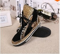 Fashion python snake leather studded color-block trainer Men's shoe gold medusa high top sneakers men casual shoes