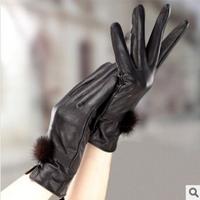 Rabbit fur hasp fur fashion short design women's sheepskin genuine leather gloves winter thickening gloves 2014 New
