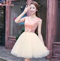 Fashionable New Lace Red Short evening dress Pink Bow prom dresses 2014 evening dresses robe de soiree vestido de festa gown E94