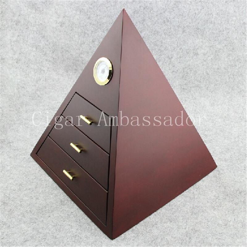 Pyramid High-end Glossy Piano Finish Cedar Wood Cigar Cabinet Humidor 3 Drawers Storage Box with Hygrometer(China (Mainland))