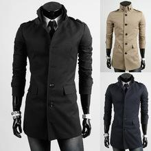 New Sale Long Men Trenchcoat 2014 Full Sleeve Lapel Collar Fashion British Stylish Luxury Men Trench Double Breasted Male Coat(China (Mainland))