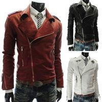 2014 New Men Slim PU leather jacket Multi Zipper Man leather large lapel short Outerwear Autumn Winter Casual Motorcycle Coats