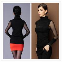 2014 Women Blouses Women's Tops Black Turtleneck Diamond Stud Long Sleeve Blouse Mesh Slim Basic Tops 851882