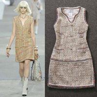 Free Shipping Fall 2014 Runway Brand Design Top Quality V-neck Beaded tweed Vest Dress 140820PB01