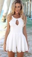 2014 summer new fashion hollow lace chiffon dress was thin lace dress woemen sexy dress Free Shipping