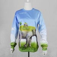 Fashion top girl style hoodies 3d elephant sweater sky Novelty print animal sweatshirt  vogue clothing men/women casual pullover